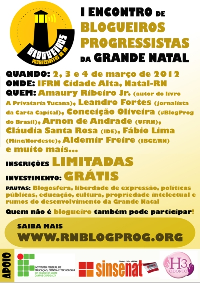 Cartaz do 1º Encontro de Blogueiros Progressistas do RN